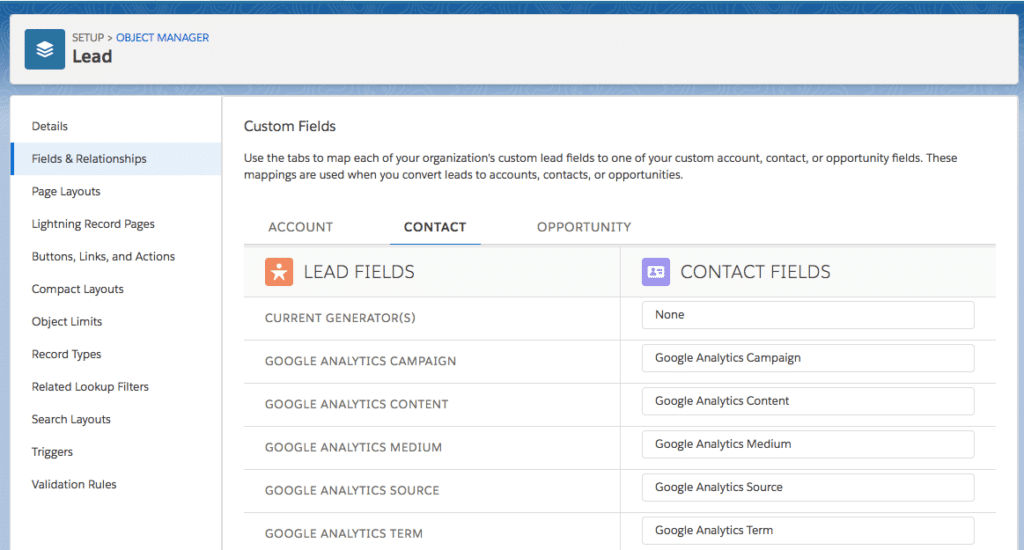 map a lead field to a contact field in salesforce